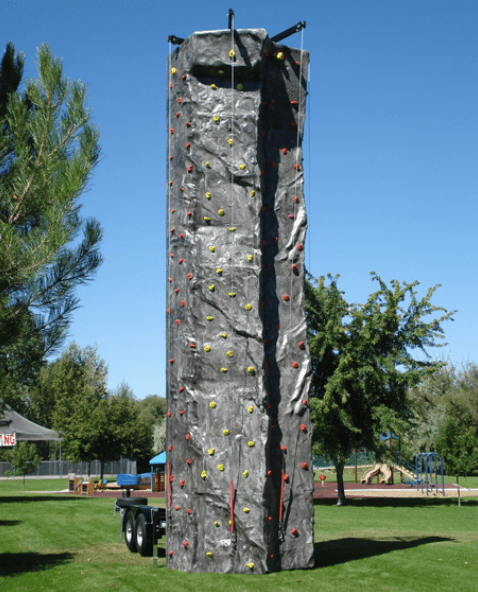 Mobile rock climbing walls setup