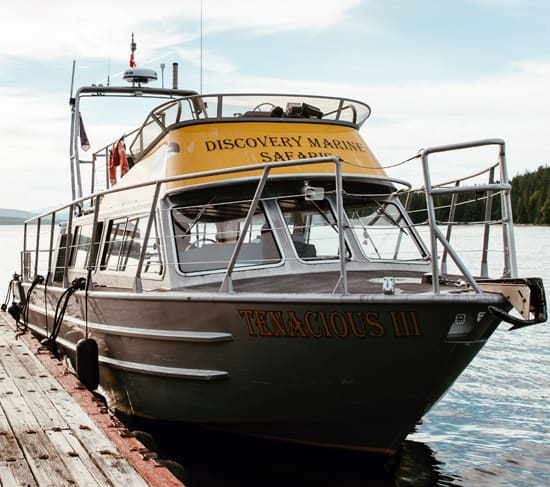 Discovery Marine Safaris Adventure Tour boat Tenacious III from the front