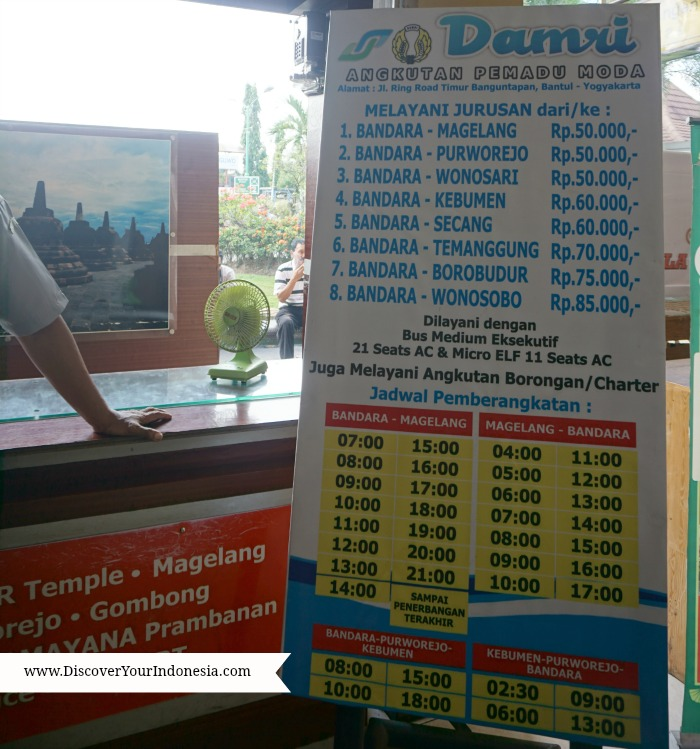 Damri bus schedule from Yogya airport to Borobudur