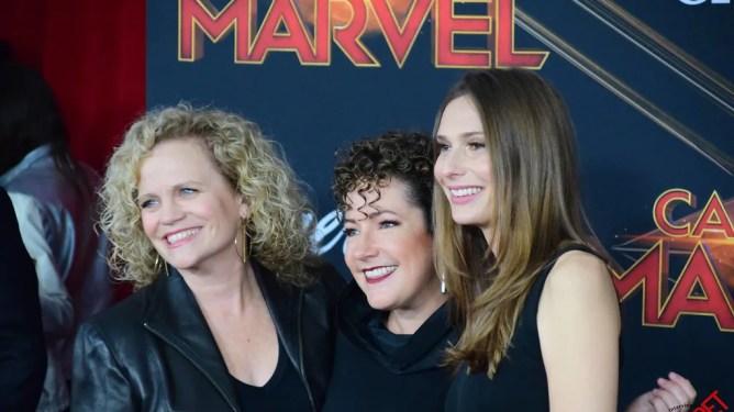 Writers Meg LeFauve, Nicole Perlman, and Geneva Robertson-Dworet on the red carpet premiere of Captain Marvel.