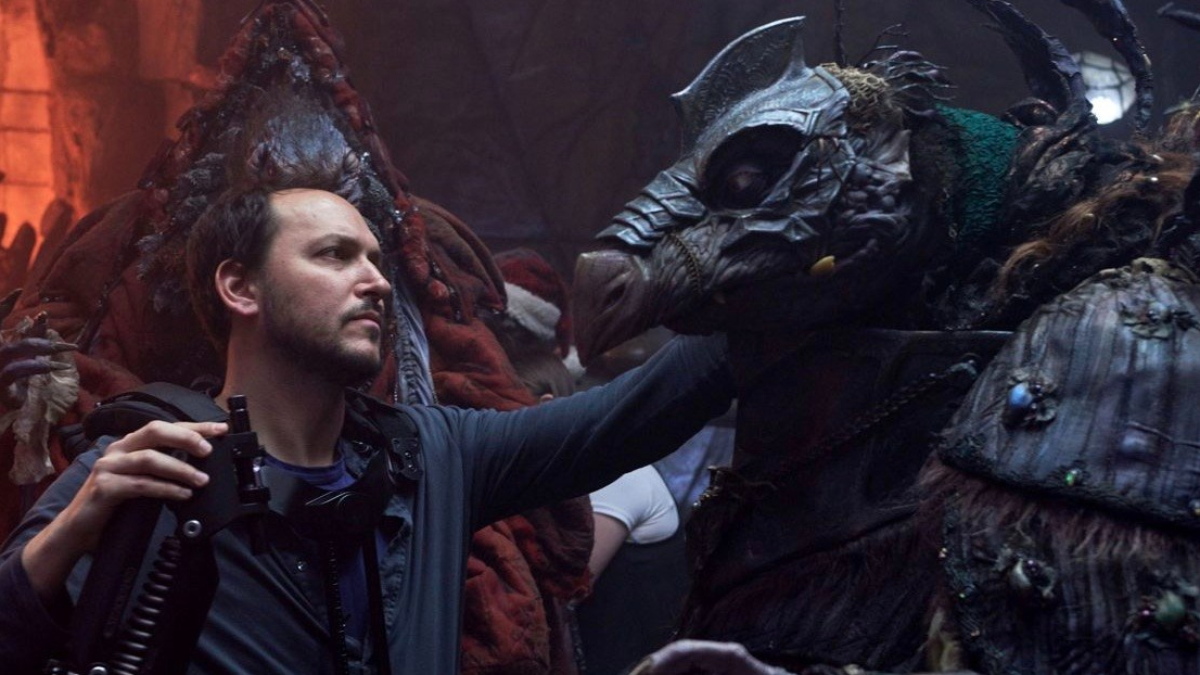 Director Louis Leterrier with a Skeksis puppet on the set of The Dark Crystal: Age of Resistance.