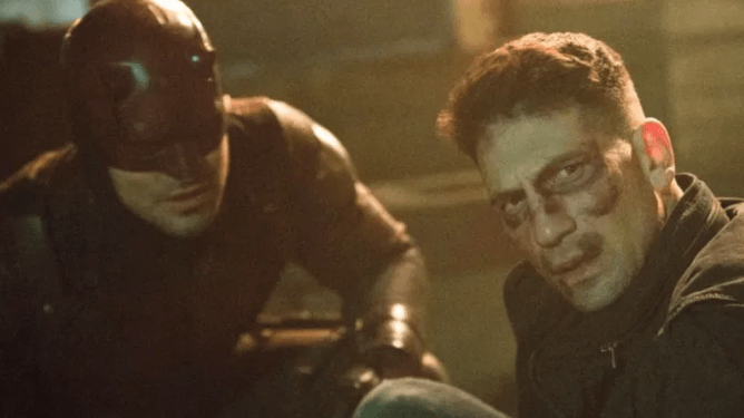Charlie Cox as Daredevil and Jon Bernthal as The Punisher as seen in Season 2 of Daredevil on Netflix.