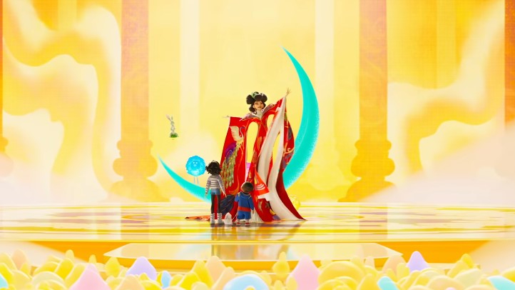 Fei Fei and Chin meet Chang'e in a beautiful palace on Lunaria in 'Over the Moon.'