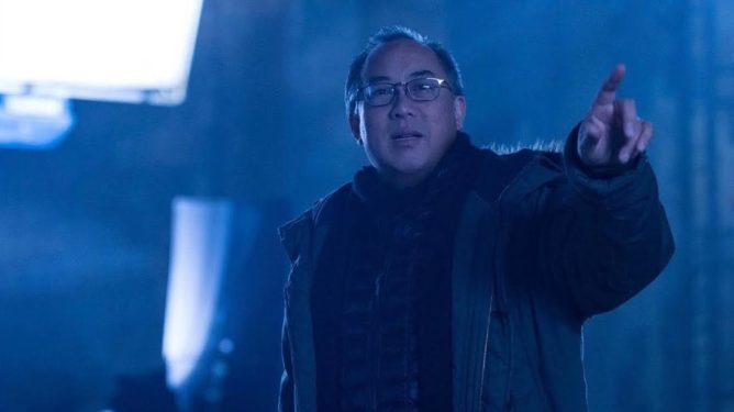 Larry Fong prepares to shoot a scene on the set of Zack Snyder's Batman v Superman.