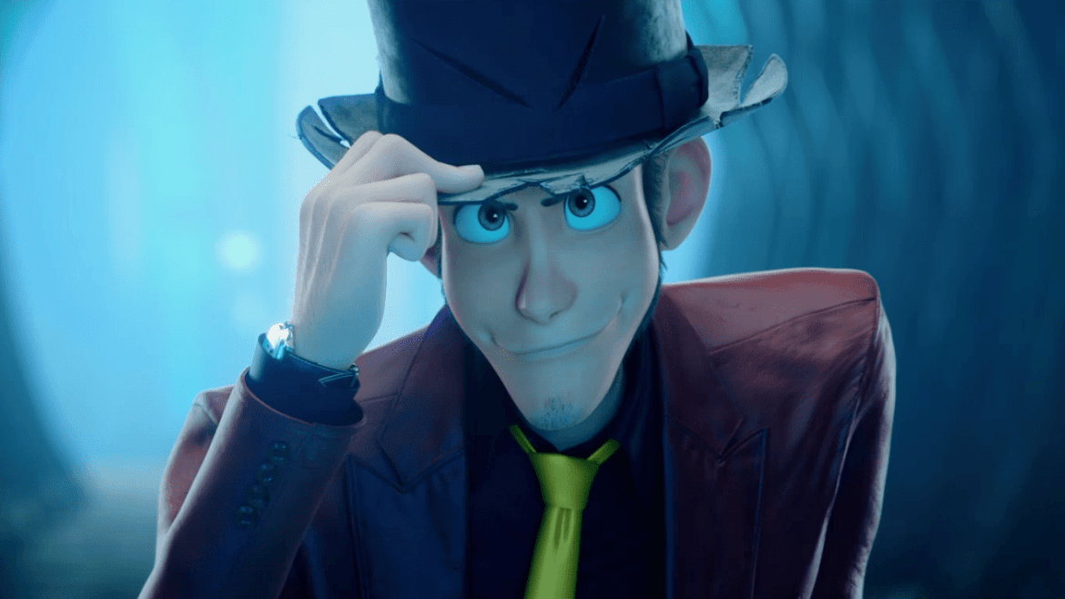 Master thief and anime icon Arsène Lupin III with his tophat and signature red suit and yellow tie as seen in Lupin III: The First.