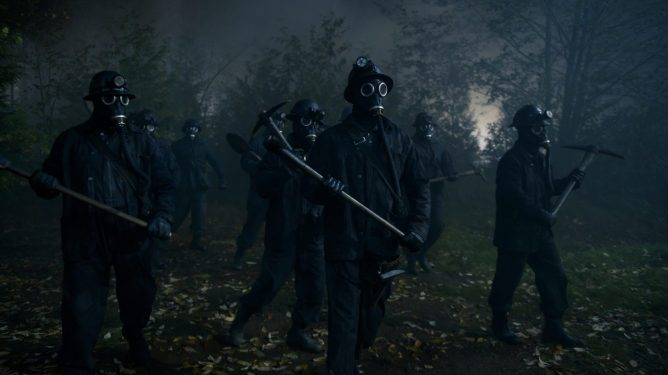 Ghostly coal miners in masks with pickaxes storming the forest as seen in season 4 of The Chilling Adventures of Sabrina.