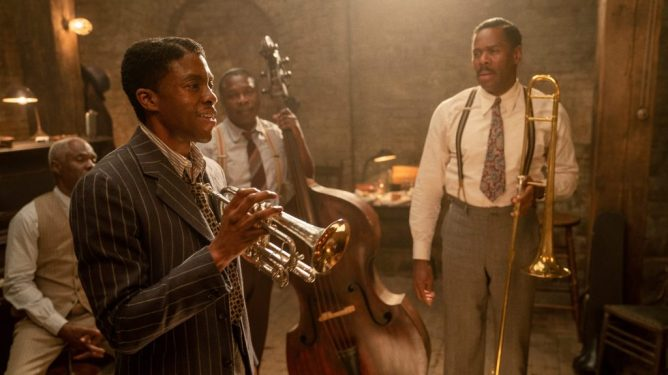 Chadwick Boseman in his final performance in Ma Rainey's Black Bottom, a 2021 predicted Oscar frontrunner from Netflix.