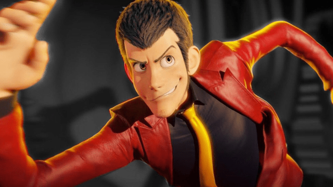 Master thief and anime icon Arsène Lupin III with his signature red suit and yellow tie as seen in Lupin III: The First.