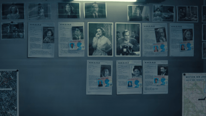 A bulletin board of clues and files of the main characters as seen in Episode 4 of WandaVision.