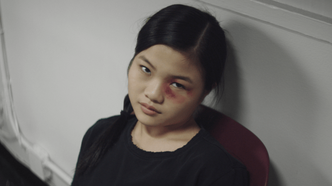 Miya Cech with a black eye as the lead character in Marvelous and the Black Hole directed by Kate Tsang.