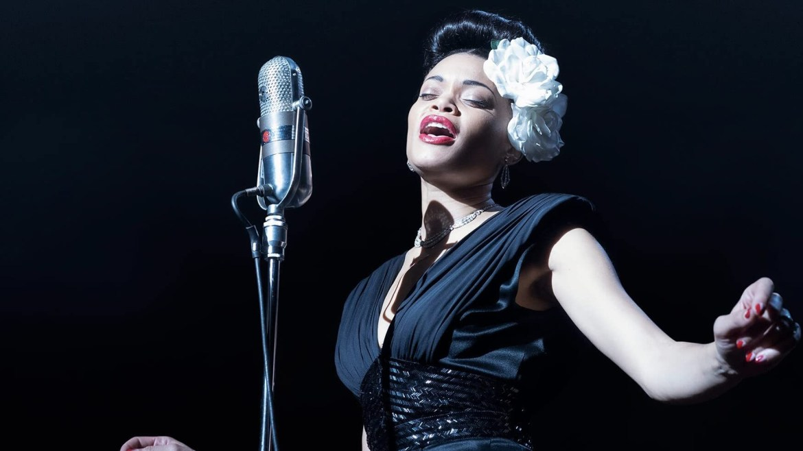 Andra Day in The United Sates vs. Billie Holiday, a new release coming this February to Hulu.