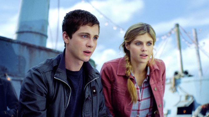 Logan Lerman and Alexandra Daddario  as seen in the 2013 film Percy Jackson: Sea of Monsters.