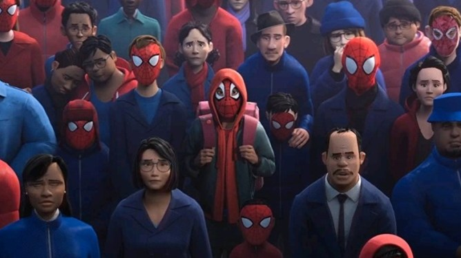 Miles Morales in a mourning crowd all wearing Spider-Man masks as seen in Into the Spider-Verse directed by Peter Ramsey.