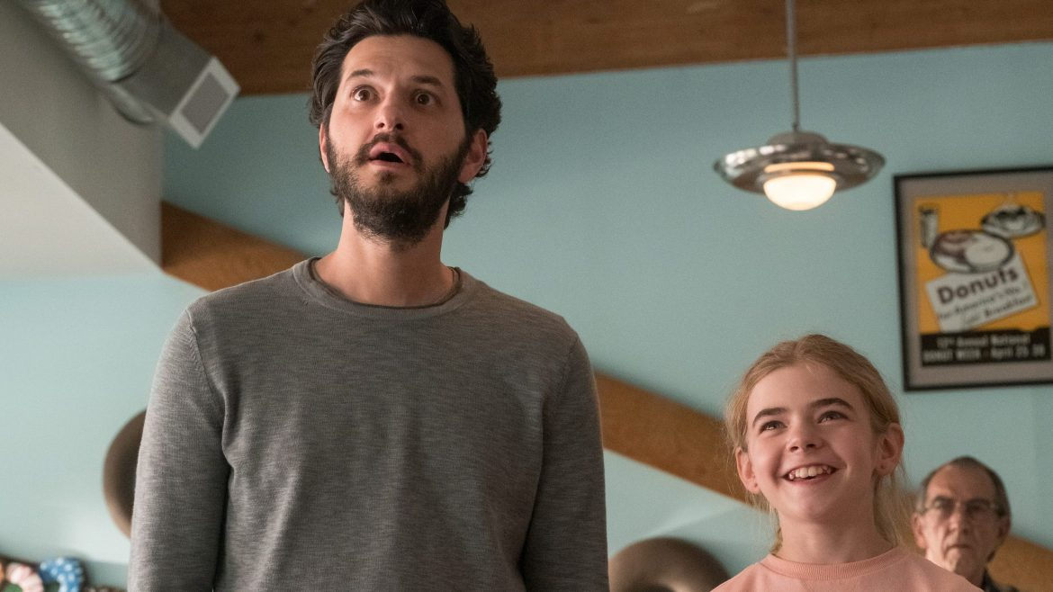 Ben Schwartz and Matilda Lawler looking up and making surprised faces as seen in Flora & Ulysses on Disney+