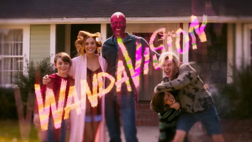 The Maximoff family on their front lawn with the Malcolm in the Middle inspired title sequence as seen in episode 6 of WandaVision.
