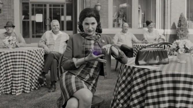 Agnes aka Agatha Harkness shown performing dark magic in episode 7 of WandaVision.