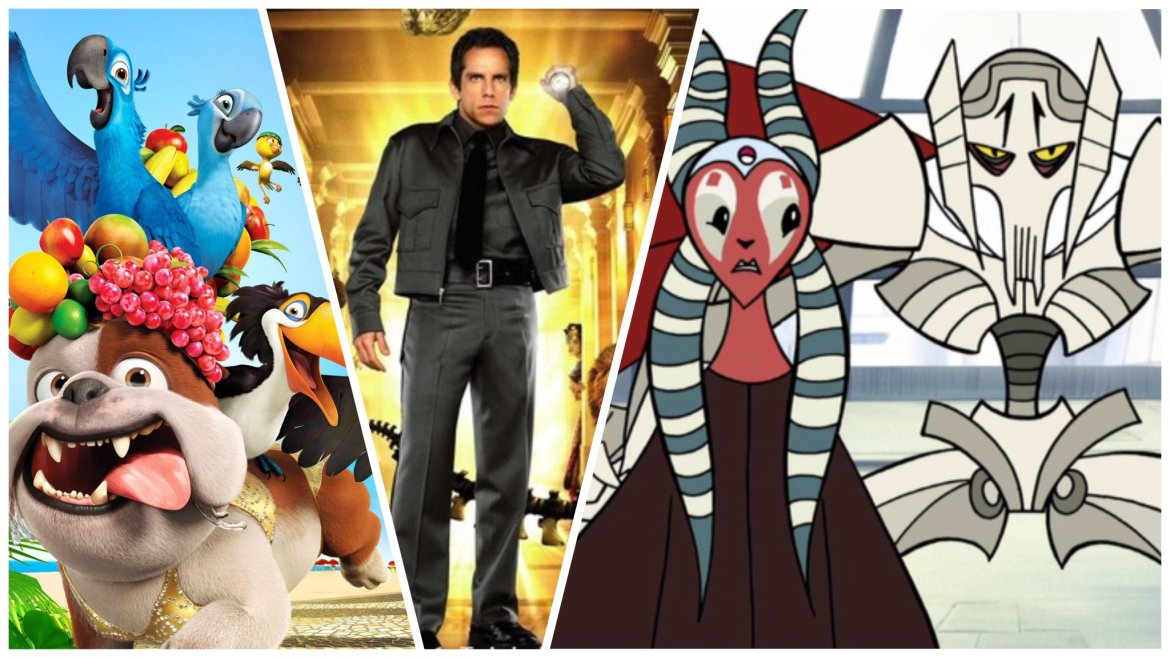 A collage of Rio, Night at the Museum, and Star Wars: Clone Wars, all coming to Disney+ in April 2021.