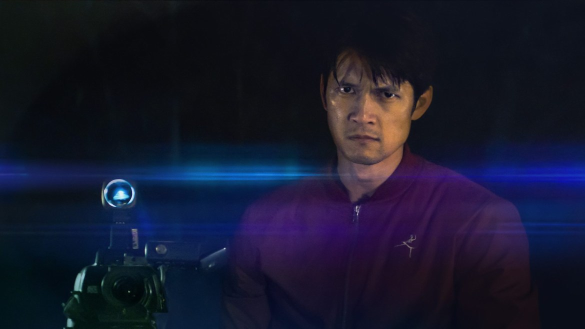 Harry Shum Jr as seen in the SXSW 2021 film Broadcast Signal Intrusion..