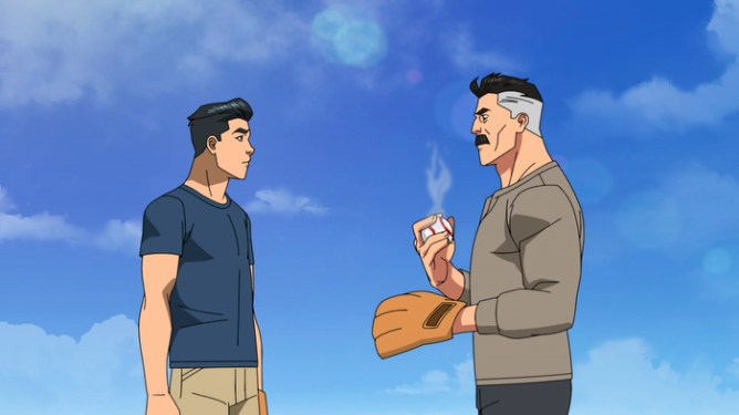 Mark Grayson played by Steven Yeun and Nolan Grayson played by J.K. Simmons in Invincible playing catch.