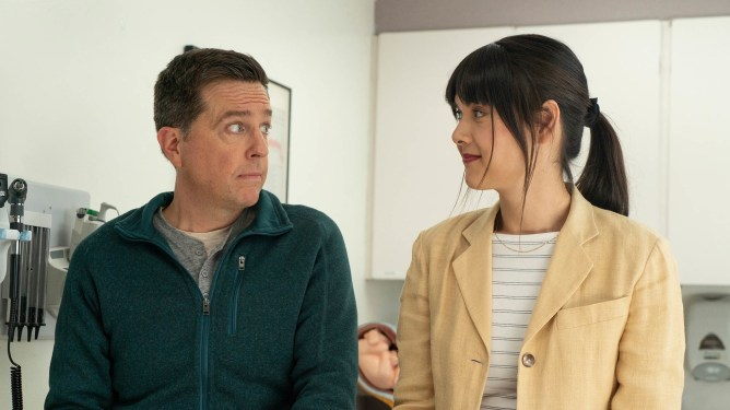 Ed Helms and Patti Harrison as seen in the Sundance breakout dramatic comedy Together Together.