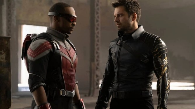 Anthony Mackie as Sam Wilson and Sebastian Stan as Bucky Barnes side by side in costume as seen in The Falcon and the Winter Soldier.