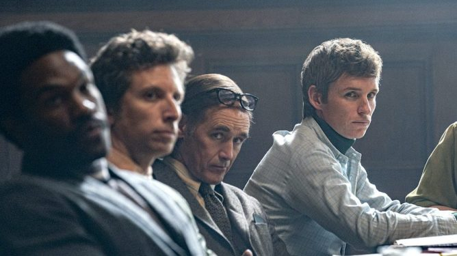 Yahya Abdul-Mateen II, Mark Rylance, and Eddie Redmayne as seen in The Trial of the Chicago 7 on Netflix.