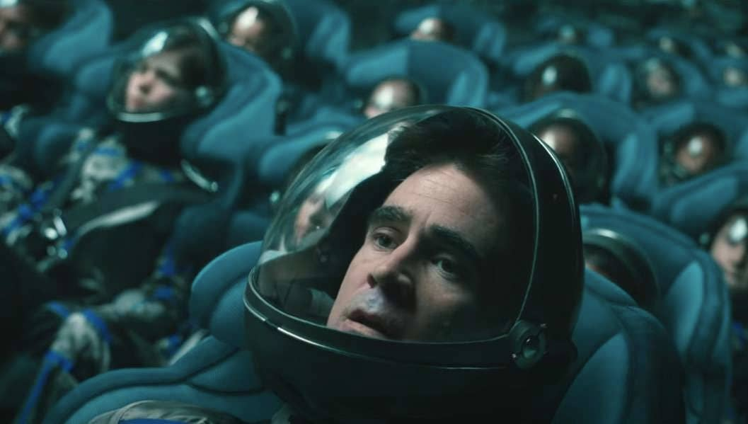 Collin Farrell taking off in a space ship of young astronauts as seen in Voyagers.