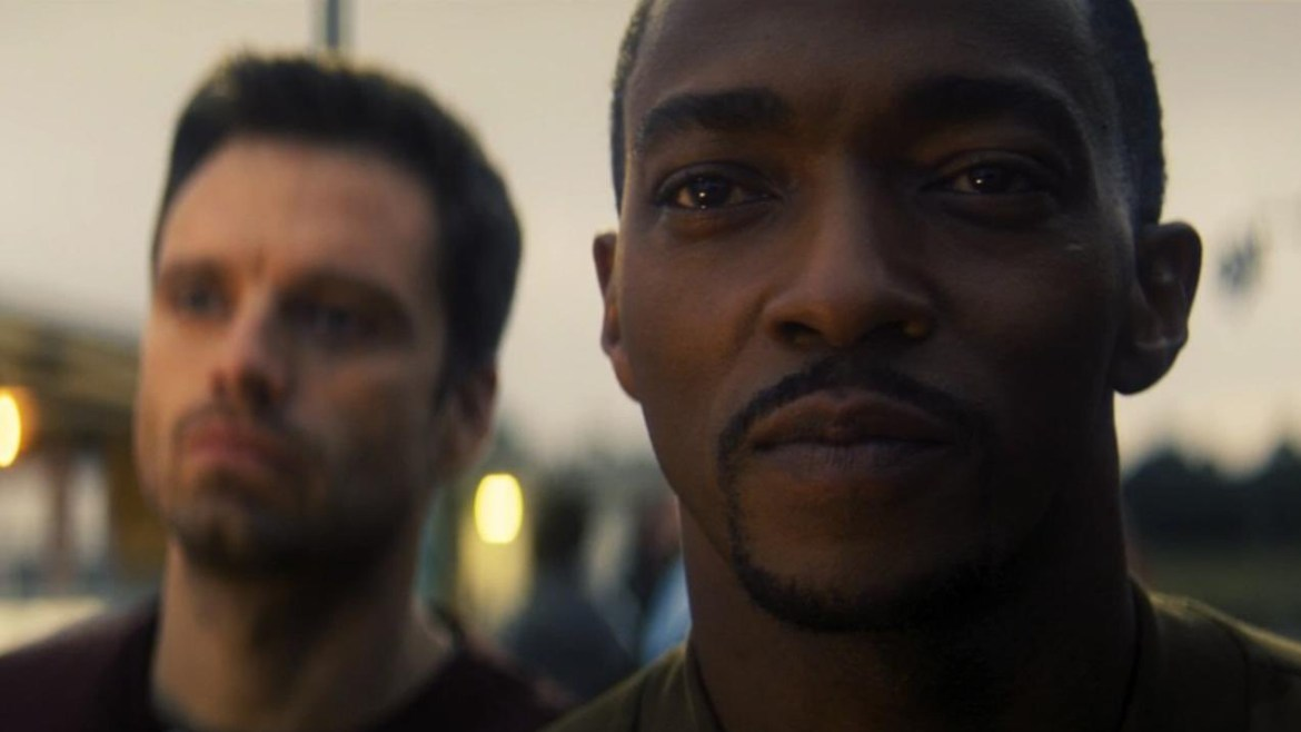 A close up of Anthony Mackie and Sebastian Stan as seen in the first season finale of The Falcon and the Winter Soldier.