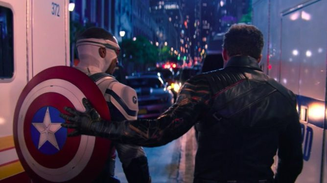 Anthony Mackie and Sebastian Stan walking together as Captain America and Bucky in The Falcon and the Winter Soldier Finale.