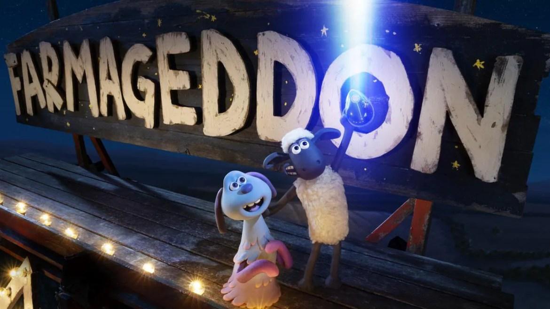 Shaun the Sheep and Lu-La as seen in the Oscar-nominated film Shaun the Sheep: Farmageddon.