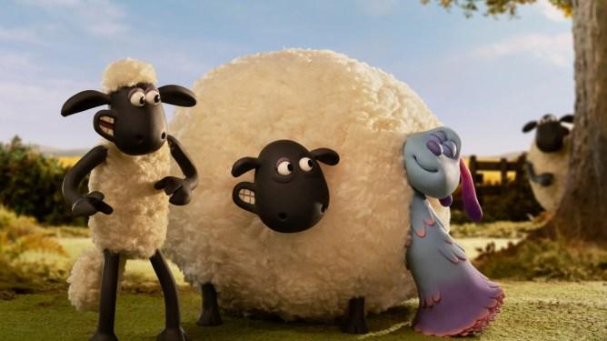 Lu-la the alien meeting Shaun's sheep friends on the farm as seen in Shaun the Sheep: Farmageddon.