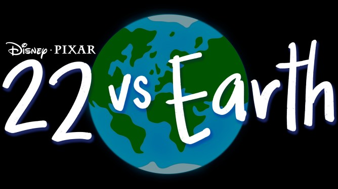 The title card for the new Pixar animated short 22 vs Earth premiering exclusively on Disney+.