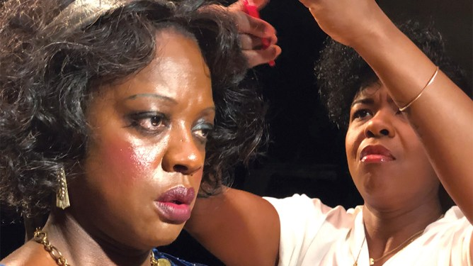 Best Makeup and Hairstyling Oscar Winner Mia Neal styling Viola Davis on the set of Ma Rainey's Black Bottom.