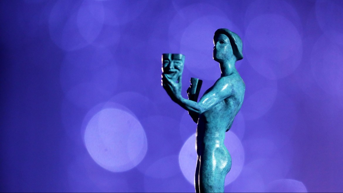 The bronze actor statue given to the winners at the 2021 SAG Awards.