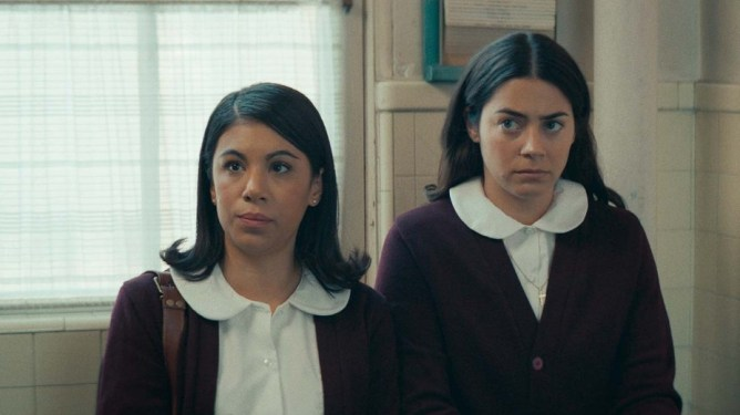 Lorenza Izzo in a catholic school uniform as seen in the 2021 SXSW film Women Is Losers.