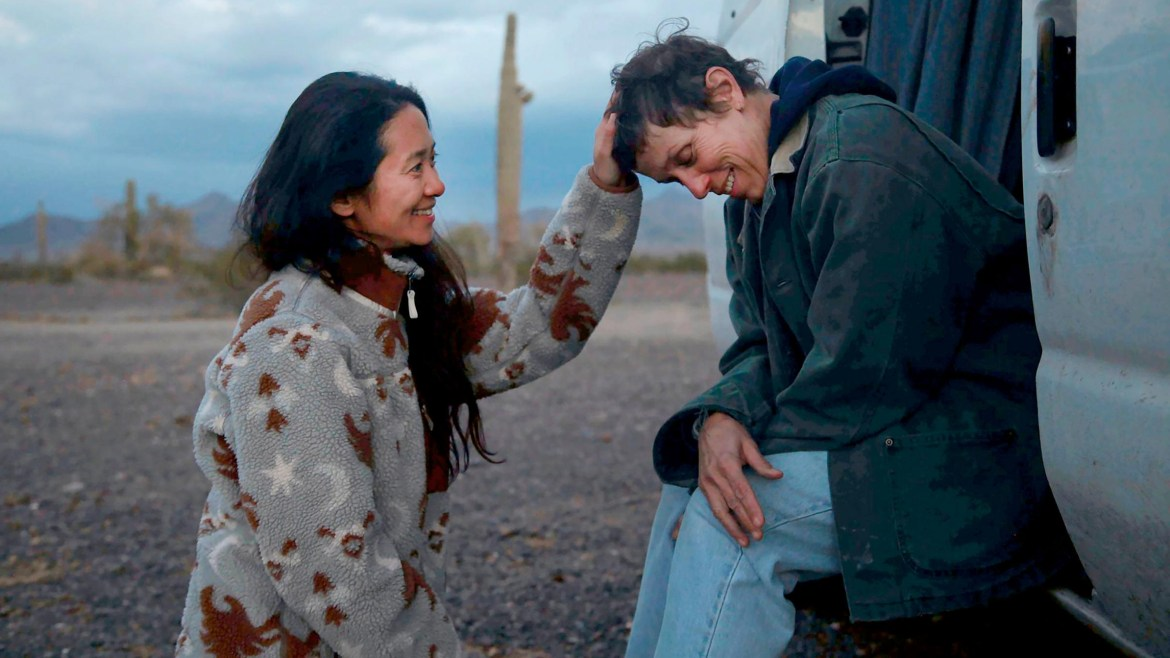 Oscar Winners Chloé Zhao and Frances McDormand on the set of the 2021 Best Picture Winner Nomadland.