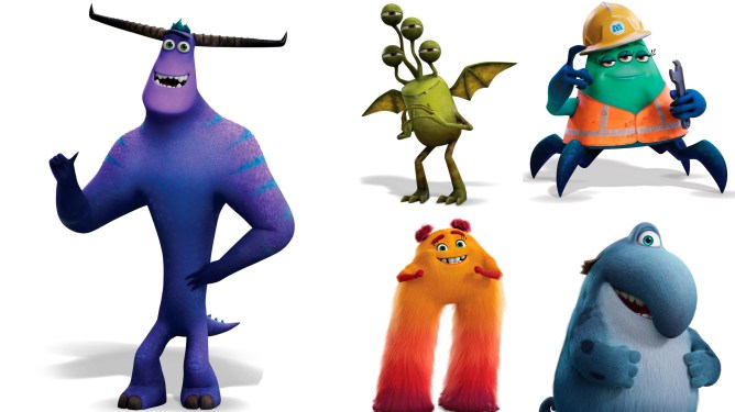 The new leading characters of Monsters at Work: Tylor Tuskmon, Fritz, Val Little, Cutter, and Duncan