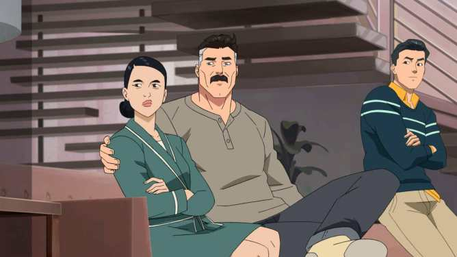The Grayson family voiced by Sandra Oh, J.K. Simmons, and Steven Yeun as seen in Invincible by Robert Kirkman.