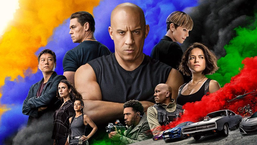 The main crew and cast of F9 featured Vin Diesel front and center