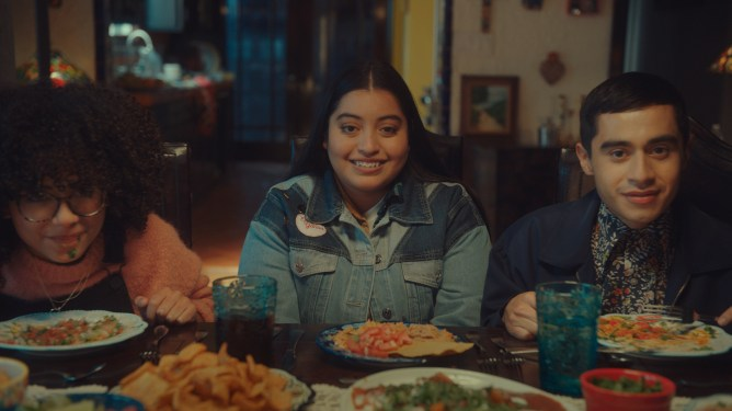 A family of Mexican-American Vampires meet for dinner as seen in the short Growing Fangs part of the Disney Launchpad series.