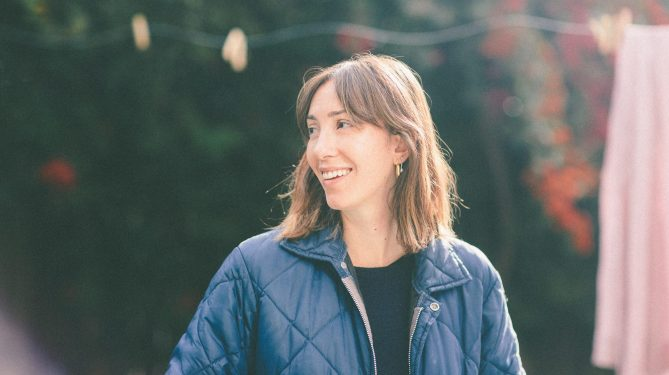 Director Gia Coppola on the set of her newest film Mainstream.
