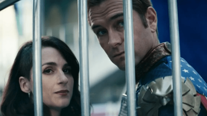 Aya Cash as Stormfront and Anthony Starr as Homelander as seen in season 2 of The Boys on Prime Video.