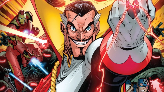 Count Nefaria stands with something in his hands, it crackles with red energy. Behind him, the Avengers (Black Widow, Iron Man, Captain America) fight Mindless Ones.
