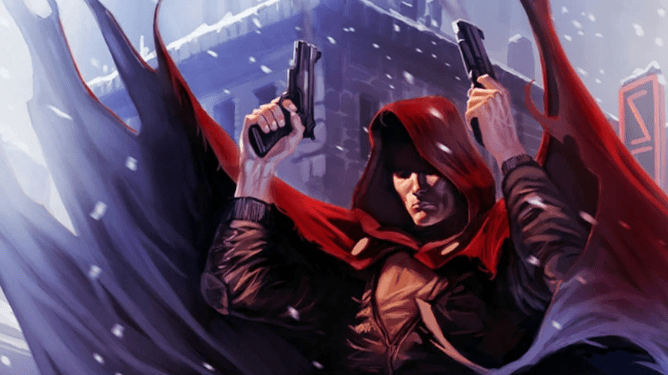 The Hood poses with two pistols in his hands. His hood pulled over his head causes his eyes not to be visible, and snow floats around him. His cape flaps in the wind. He makes our third choice as to who Ethan Hawke will be playing in Moon Knight on Disney+.