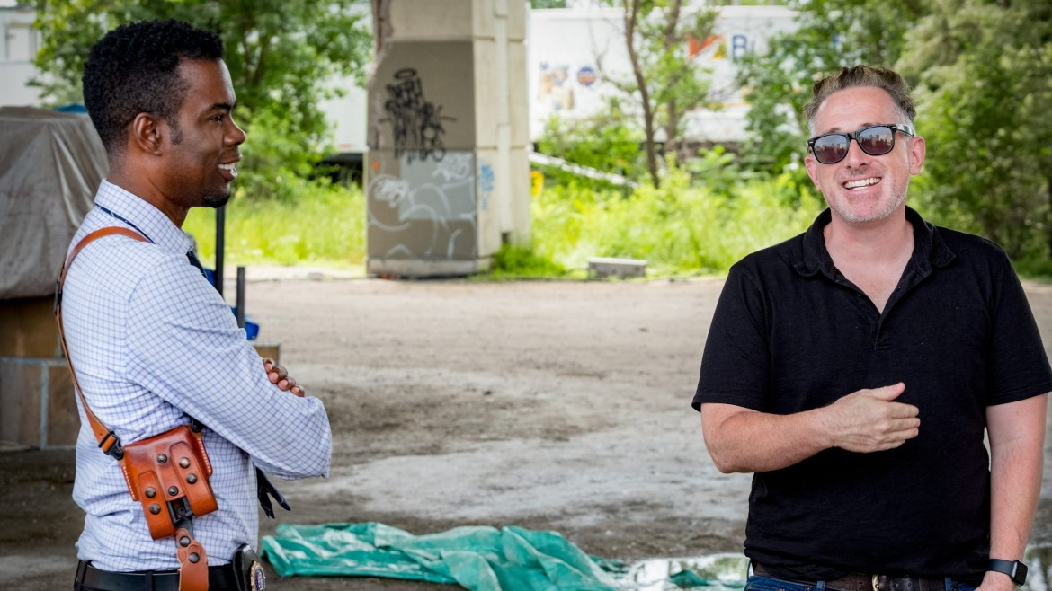 Chris Rock and director Darren Lynn Bousman on the set of his latest horror film Spiral: From the Book of Saw.