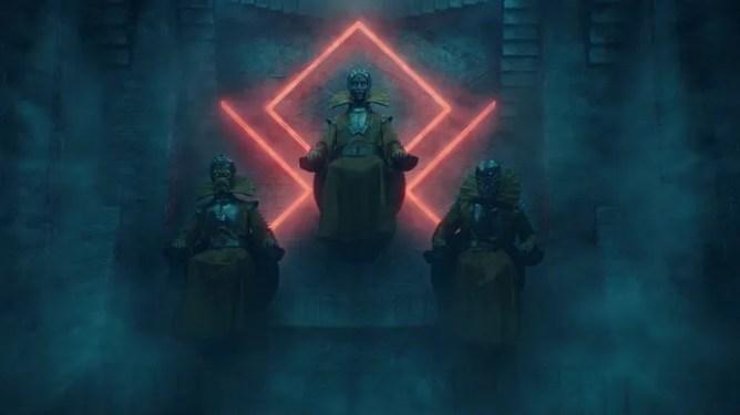The cosmic timekeepers sitting as a trinity as seen in Episode 4 of LOKI on Disney+.