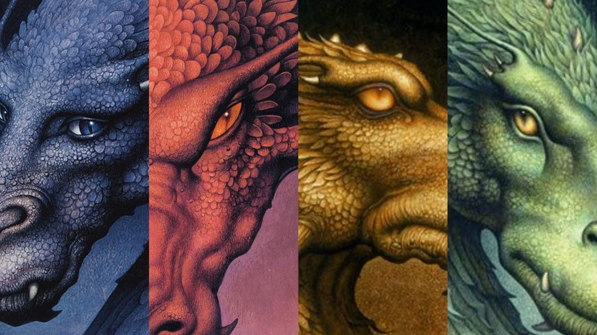The colorful dragon book covers of Christopher Paolini's Inheritance Cycle series, featuring ERAGON which would find a perfect home on Disney+.