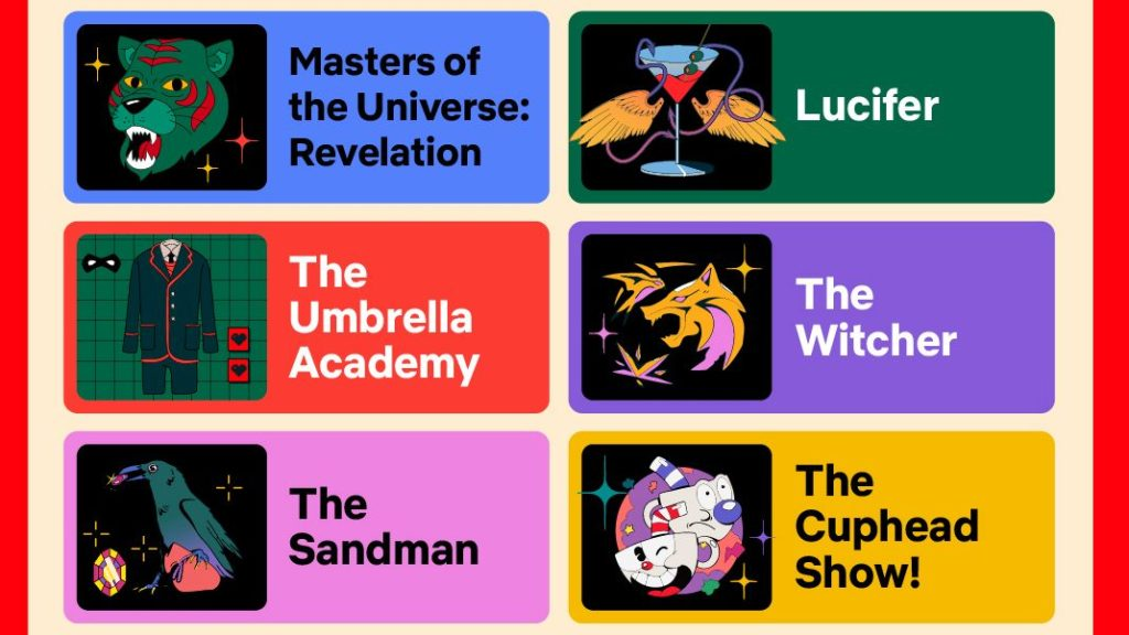 Projects set to be announced at the Netflix Geeked Week event, including The Umbrella Academy, The Sandman, The Witcher, and Lucifer.