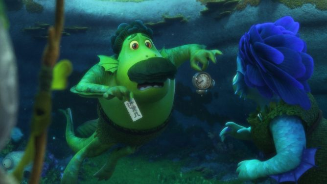 The sea monster parents voiced by Jim Gaffigan and Maya Rudolph in Luca the newest Pixar film to hit Disney+.