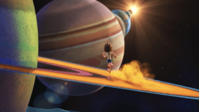 Luca running on the rings of Saturn in space in a dreamlike sequence as seen in Pixar's Luca on Disney+.